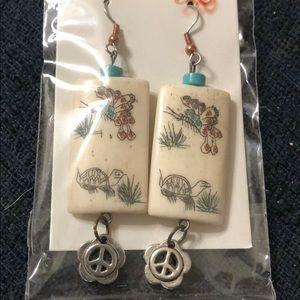 Bone tile peace sign earrings